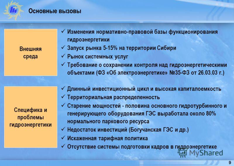 9 Основные вызовы Изменения нормативно-правовой базы функционирования гидроэнергетики Запуск рынка 5-15% на территории Сибири Рынок системных услуг Требование о сохранении контроля над гидроэнергетическими объектами (ФЗ «Об электроэнергетике» 35-ФЗ о