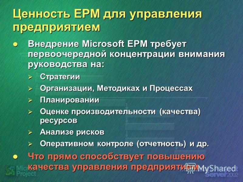 Ценность EPM для управления предприятием Внедрение Microsoft EPM требует первоочередной концентрации внимания руководства на: Внедрение Microsoft EPM требует первоочередной концентрации внимания руководства на: Стратегии Стратегии Организации, Методи