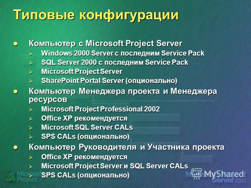 Типовые конфигурации Компьютер с Microsoft Project Server Компьютер с Microsoft Project Server Windows 2000 Server c последним Service Pack Windows 2000 Server c последним Service Pack SQL Server 2000 c последним Service Pack SQL Server 2000 c послед