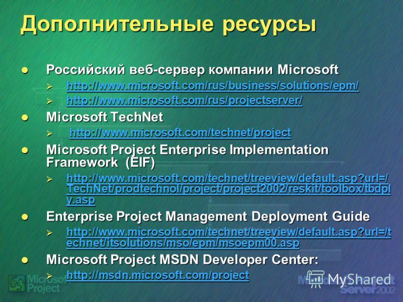 Дополнительные ресурсы Российский веб-сервер компании Microsoft Российский веб-сервер компании Microsoft http://www.microsoft.com/rus/business/solutions/epm/ http://www.microsoft.com/rus/business/solutions/epm/ http://www.microsoft.com/rus/business/s