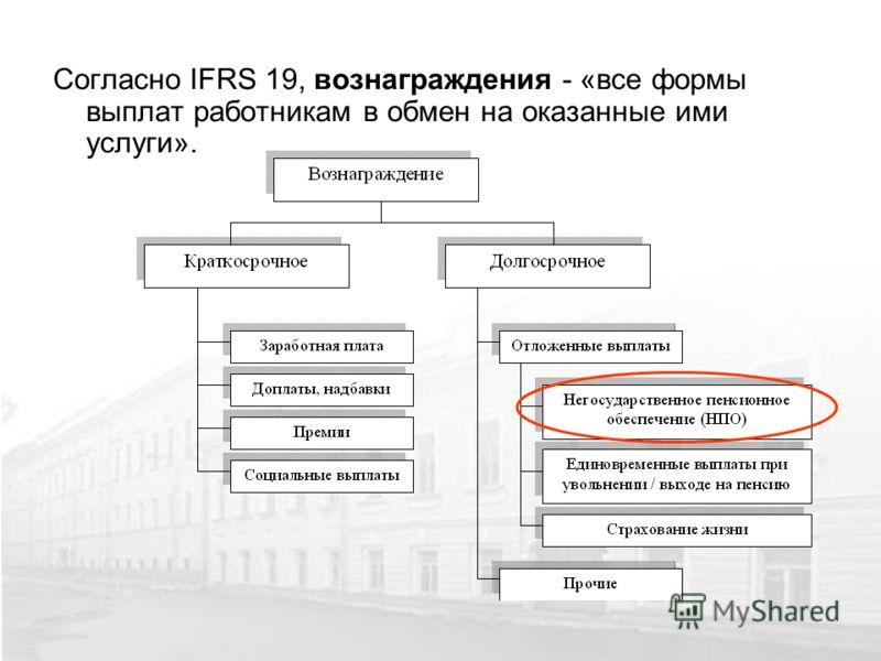 Согласно IFRS 19, вознаграждения - «все формы выплат работникам в обмен на оказанные ими услуги».