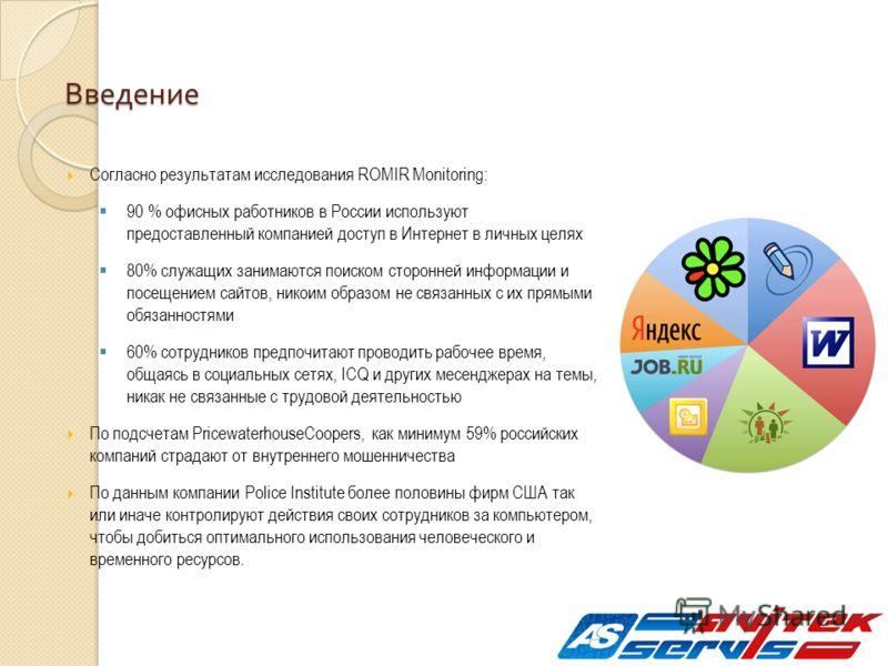Введение Согласно результатам исследования ROMIR Monitoring: 90 % офисных работников в России используют предоставленный компанией доступ в Интернет в личных целях 80% служащих занимаются поиском сторонней информации и посещением сайтов, никоим образ
