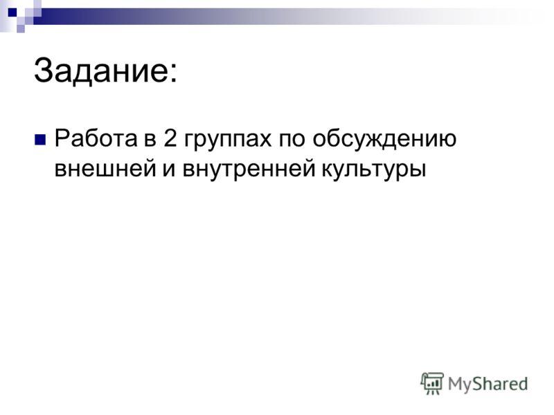 Задание: Работа в 2 группах по обсуждению внешней и внутренней культуры