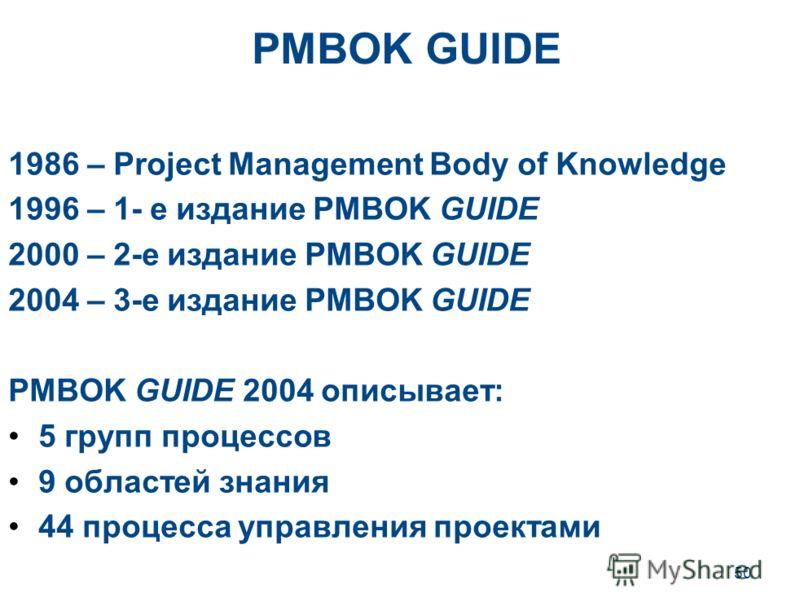 50 PMBOK GUIDE 1986 – Project Management Body of Knowledge 1996 – 1- е издание PMBOK GUIDE 2000 – 2-е издание PMBOK GUIDE 2004 – 3-е издание PMBOK GUIDE PMBOK GUIDE 2004 описывает: 5 групп процессов 9 областей знания 44 процесса управления проектами