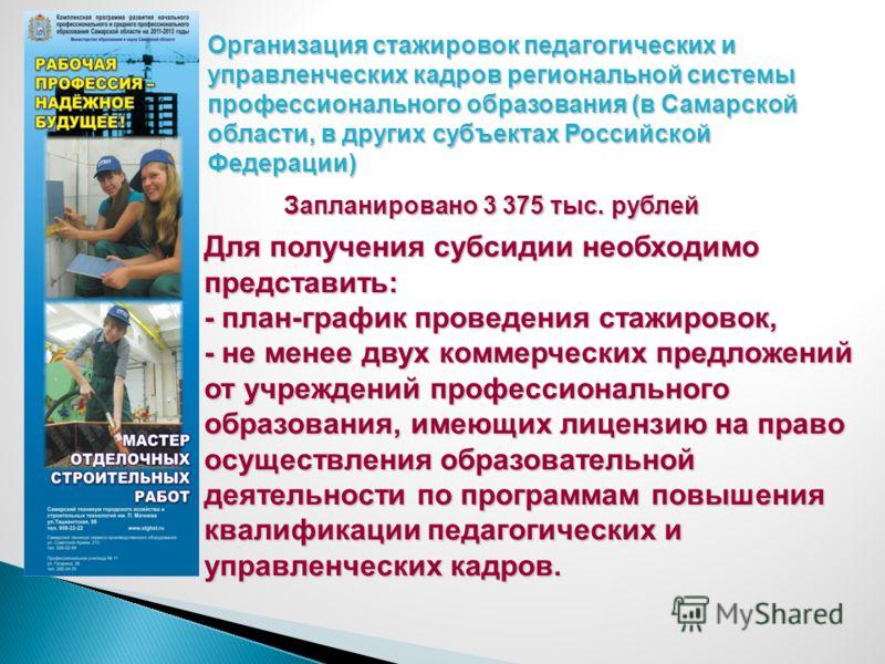 Организация стажировок педагогических и управленческих кадров региональной системы профессионального образования (в Самарской области, в других субъектах Российской Федерации) Запланировано 3 375 тыс. рублей Для получения субсидии необходимо представ