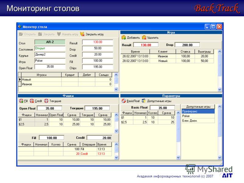 Мониторинг столов Back Track Академия информационных технологий (с) 2007