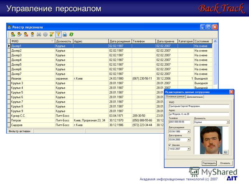Управление персоналом Back Track Академия информационных технологий (с) 2007