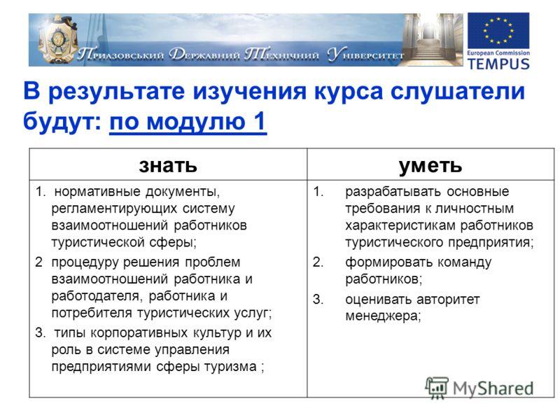 В результате изучения курса слушатели будут: по модулю 1 знатьуметь 1. нормативные документы, регламентирующих систему взаимоотношений работников туристической сферы; 2процедуру решения проблем взаимоотношений работника и работодателя, работника и по