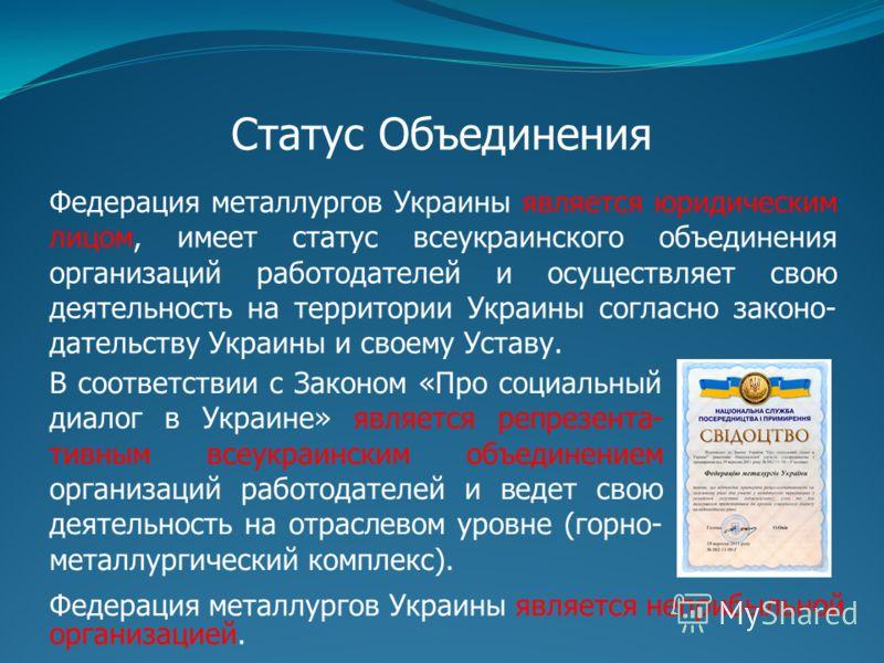 Статус Объединения Федерация металлургов Украины является юридическим лицом, имеет статус всеукраинского объединения организаций работодателей и осуществляет свою деятельность на территории Украины согласно законо- дательству Украины и своему Уставу.