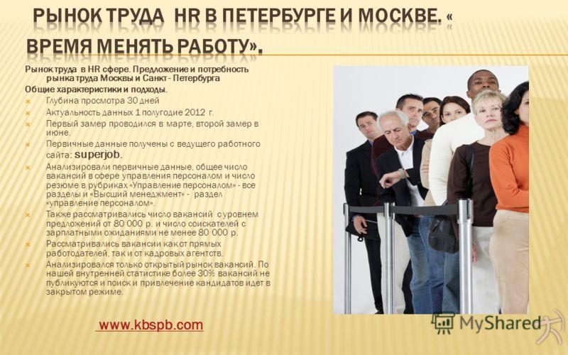 Рынок труда в HR сфере. Предложение и потребность рынка труда Москвы и Санкт - Петербурга Общие характеристики и подходы. Глубина просмотра 30 дней Актуальность данных 1 полугодие 2012 г. Первый замер проводился в марте, второй замер в июне. Первичны