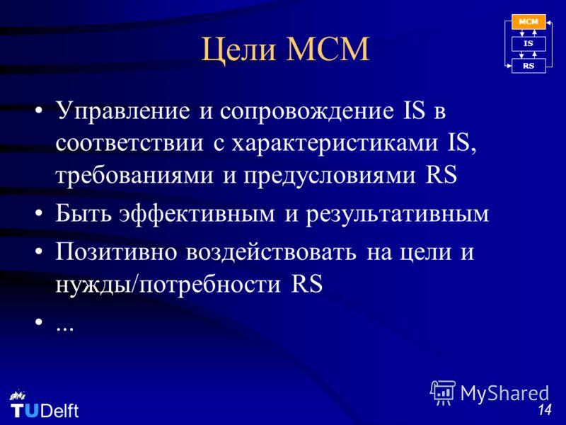 TU Delft 14 Цели MCM Управление и сопровождение IS в соответствии с характеристиками IS, требованиями и предусловиями RS Быть эффективным и результативным Позитивно воздействовать на цели и нужды/потребности RS... MCM IS RS