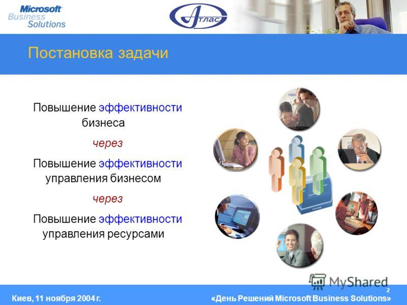 2 Киев, 11 ноября 2004 г.«День Решений Microsoft Business Solutions» Постановка задачи Повышение эффективности бизнеса через Повышение эффективности управления бизнесом через Повышение эффективности управления ресурсами