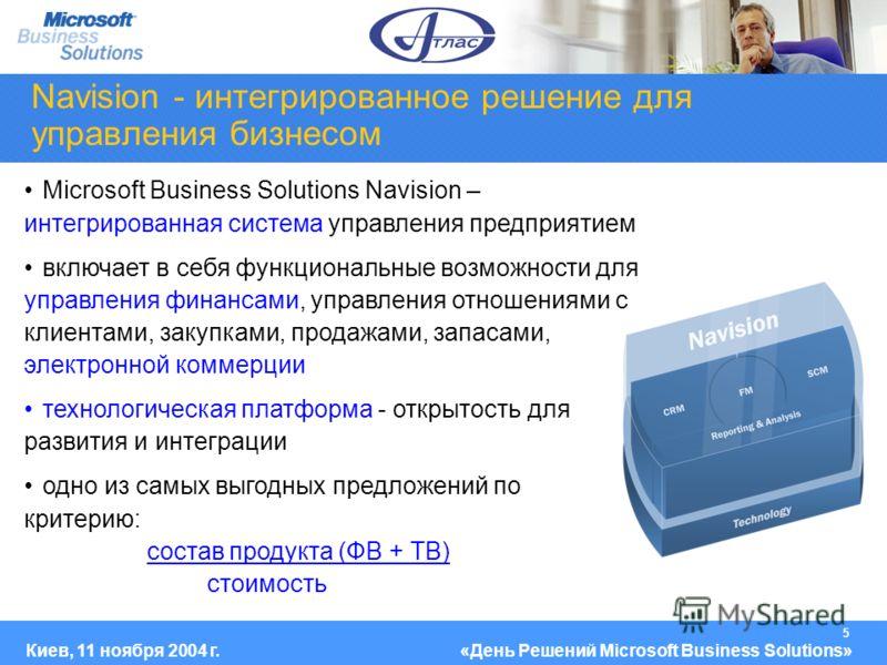 5 Киев, 11 ноября 2004 г.«День Решений Microsoft Business Solutions» Navision - интегрированное решение для управления бизнесом Microsoft Business Solutions Navision – интегрированная система управления предприятием включает в себя функциональные воз
