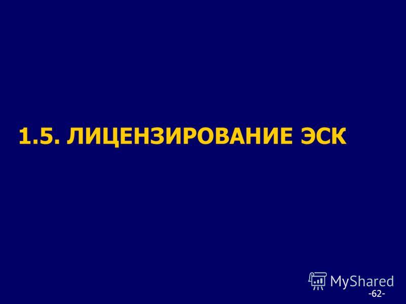 -62- 1.5. ЛИЦЕНЗИРОВАНИЕ ЭСК