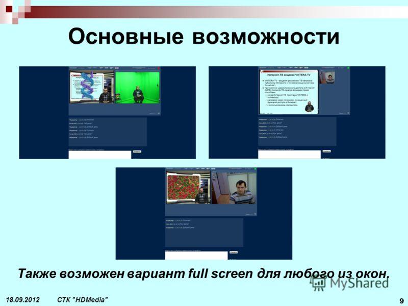 СТК HDMedia 9 18.09.2012 Основные возможности Также возможен вариант full screen для любого из окон.