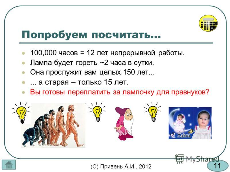11 (С) Привень А.И., 2012 Попробуем посчитать... 100,000 часов = 12 лет непрерывной работы. Лампа будет гореть ~2 часа в сутки. Она прослужит вам целых 150 лет...... а старая – только 15 лет. Вы готовы переплатить за лампочку для правнуков?