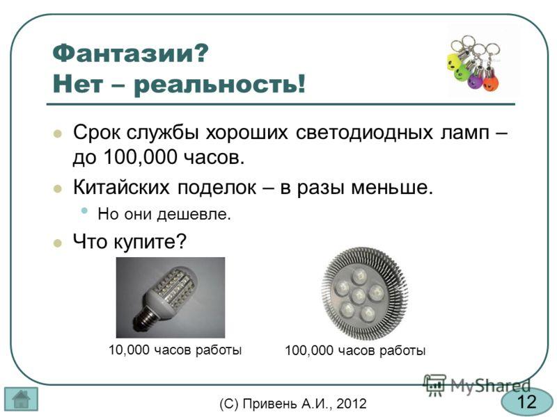 12 (С) Привень А.И., 2012 Фантазии? Нет – реальность! Срок службы хороших светодиодных ламп – до 100,000 часов. Китайских поделок – в разы меньше. Но они дешевле. Что купите? 10,000 часов работы 100,000 часов работы