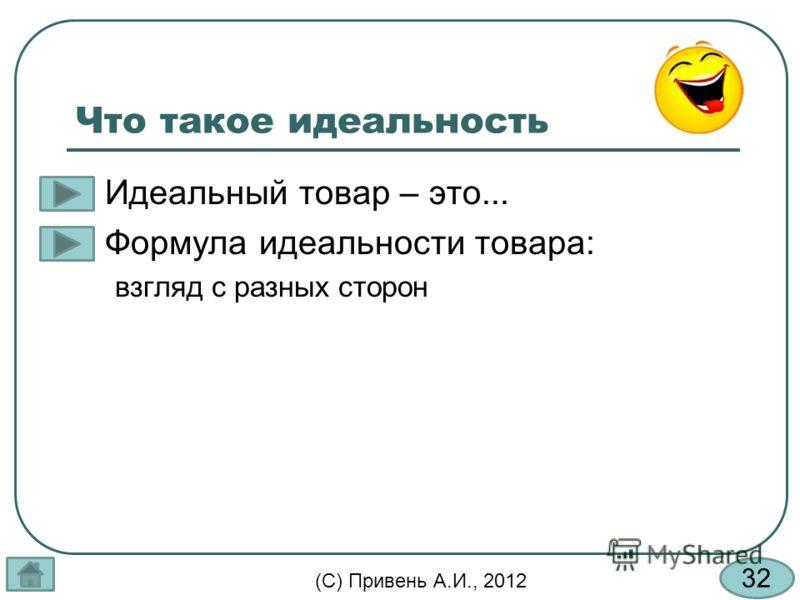32 (С) Привень А.И., 2012 Что такое идеальность Идеальный товар – это... Формула идеальности товара: взгляд с разных сторон