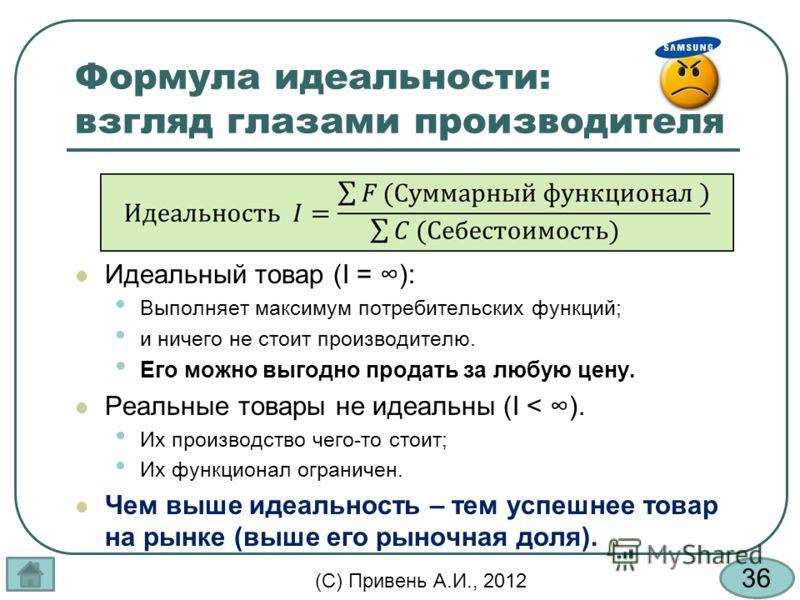 36 (С) Привень А.И., 2012 Формула идеальности: взгляд глазами производителя Идеальный товар (I = ): Выполняет максимум потребительских функций; и ничего не стоит производителю. Его можно выгодно продать за любую цену. Реальные товары не идеальны (I <