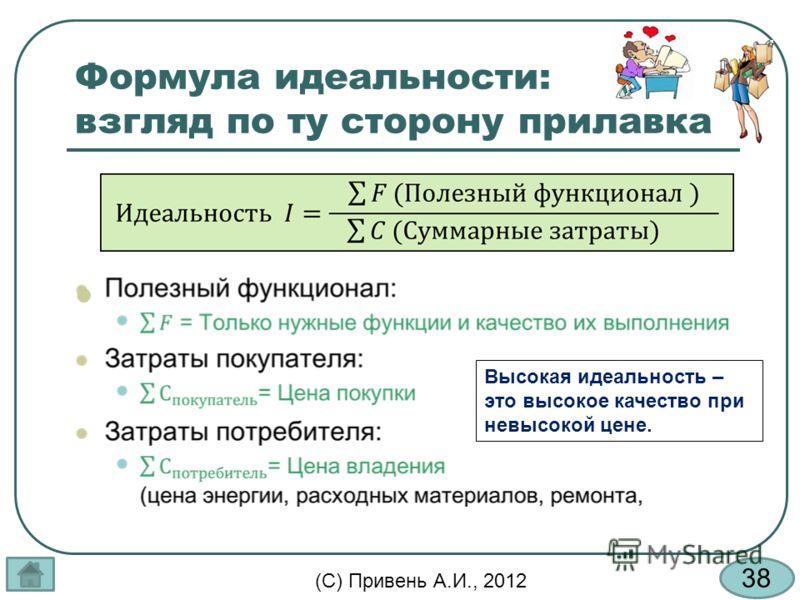 38 (С) Привень А.И., 2012 Формула идеальности: взгляд по ту сторону прилавка Высокая идеальность – это высокое качество при невысокой цене.