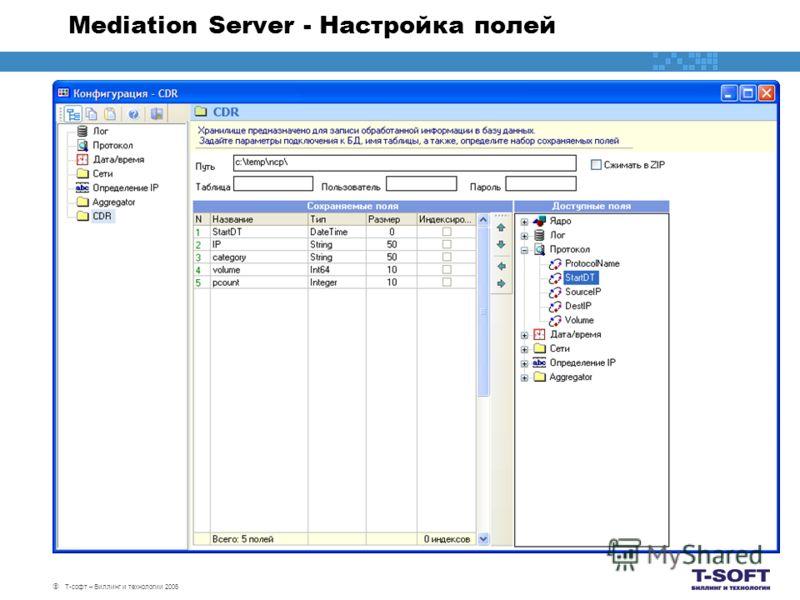 Т-софт – Биллинг и технологии 2006 Mediation Server - Настройка полей