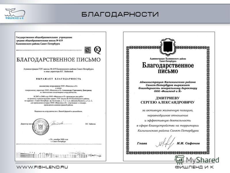 WWW.FISHLEND.RU ФИШЛЕНД и К БЛАГОДАРНОСТИ