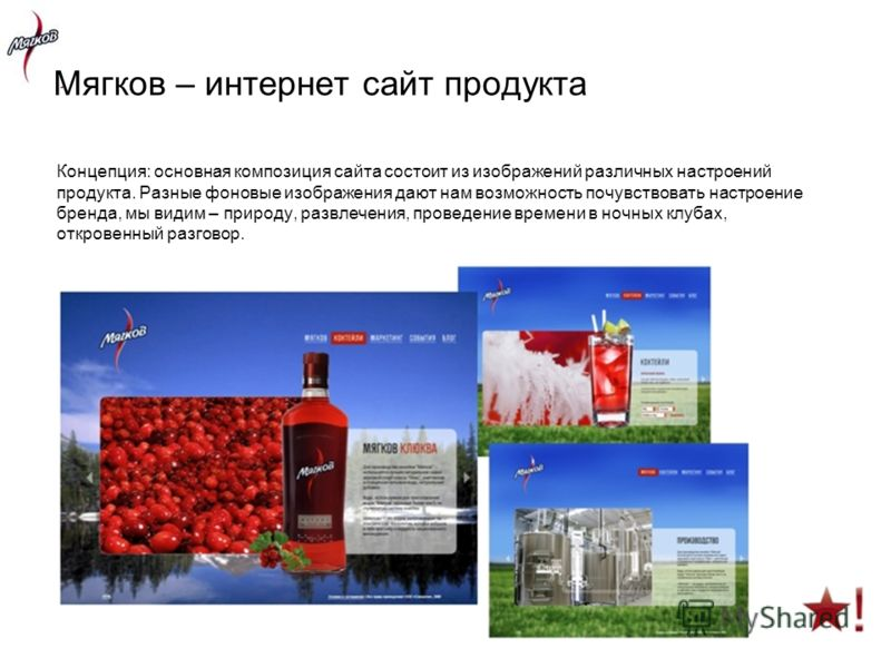 Концепция: основная композиция сайта состоит из изображений различных настроений продукта. Разные фоновые изображения дают нам возможность почувствовать настроение бренда, мы видим – природу, развлечения, проведение времени в ночных клубах, откровенн
