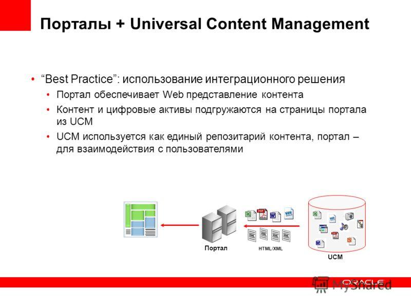 Best Practice: использование интеграционного решения Портал обеспечивает Web представление контента Контент и цифровые активы подгружаются на страницы портала из UCM UCM используется как единый репозитарий контента, портал – для взаимодействия с поль
