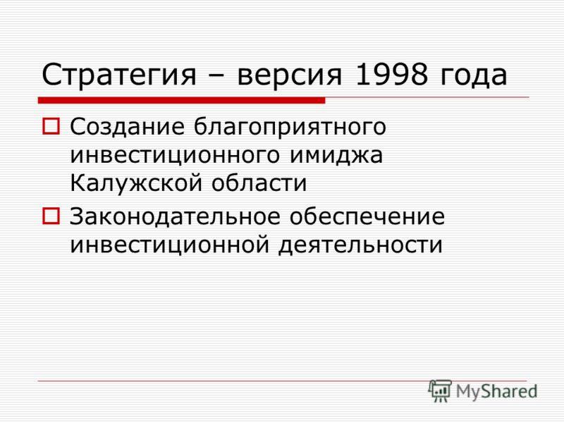 Стратегия – версия 1998 года Создание благоприятного инвестиционного имиджа Калужской области Законодательное обеспечение инвестиционной деятельности