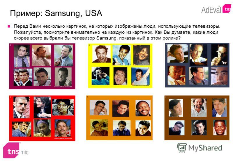 Перед Вами несколько картинок, на которых изображены люди, использующие телевизоры. Пожалуйста, посмотрите внимательно на каждую из картинок. Как Вы думаете, какие люди скорее всего выбрали бы телевизор Samsung, показанный в этом ролике?