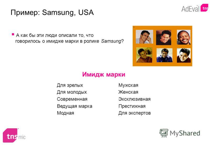 Имидж марки Пример: Samsung, USA А как бы эти люди описали то, что говорилось о имидже марки в ролике Samsung? Для зрелых Для молодых Современная Ведущая марка Модная Мужская Женская Эксклюзивная Престижная Для экспертов