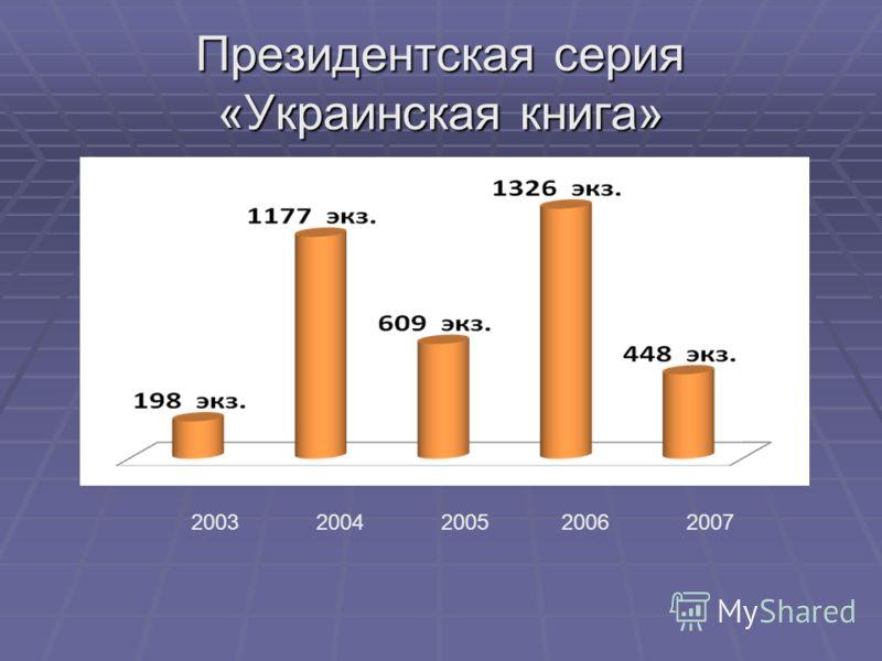 Президентская серия «Украинская книга» 20032004200520062007