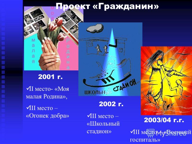 2001 г. II место- «Моя малая Родина», III место – «Огонек добра» 2002 г. III место – «Школьный стадион» 2003/04 г.г. III место – «Военный госпиталь» Проект «Гражданин»