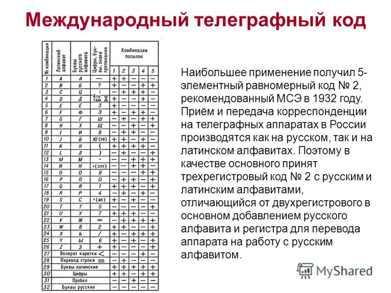 Международный телеграфный код Наибольшее применение получил 5- элементный равномерный код 2, рекомендованный МСЭ в 1932 году. Приём и передача корреспонденции на телеграфных аппаратах в России производятся как на русском, так и на латинском алфавитах