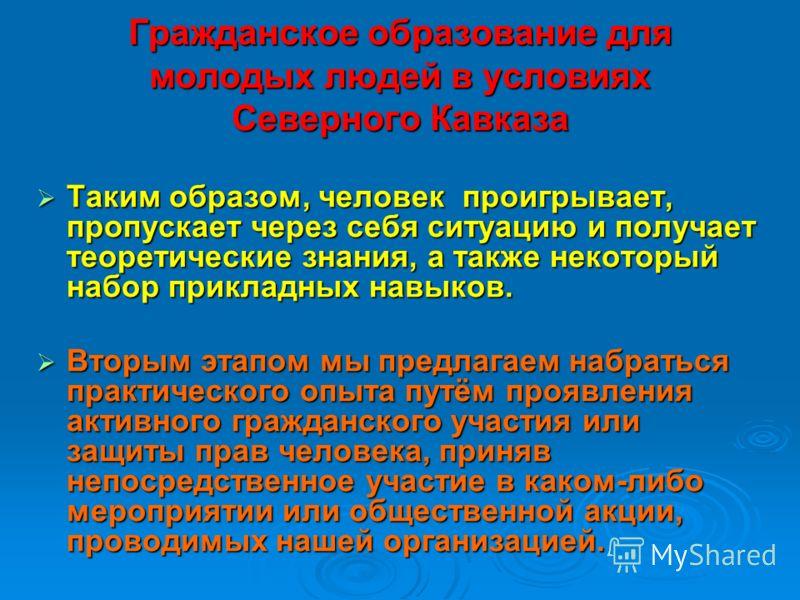 Гражданское образование для молодых людей в условиях Северного Кавказа Таким образом, человек проигрывает, пропускает через себя ситуацию и получает теоретические знания, а также некоторый набор прикладных навыков. Таким образом, человек проигрывает,
