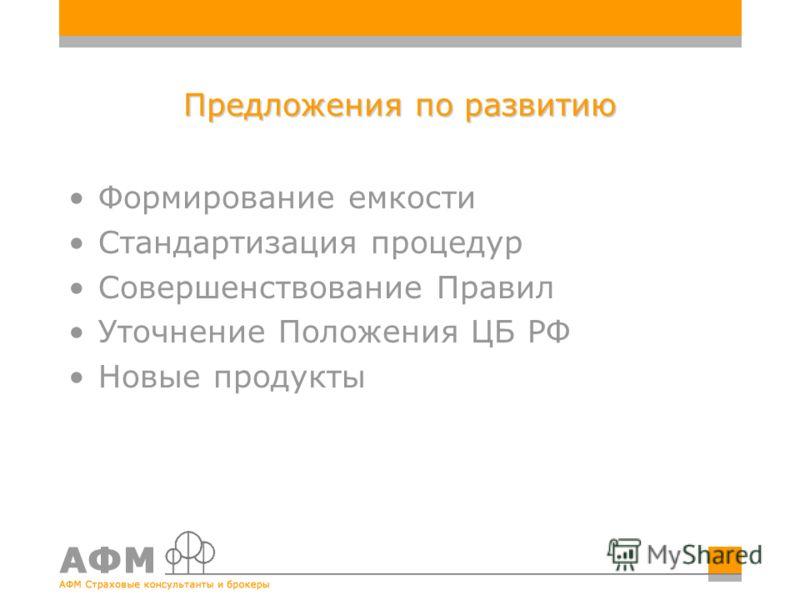 Предложения по развитию Формирование емкости Стандартизация процедур Совершенствование Правил Уточнение Положения ЦБ РФ Новые продукты