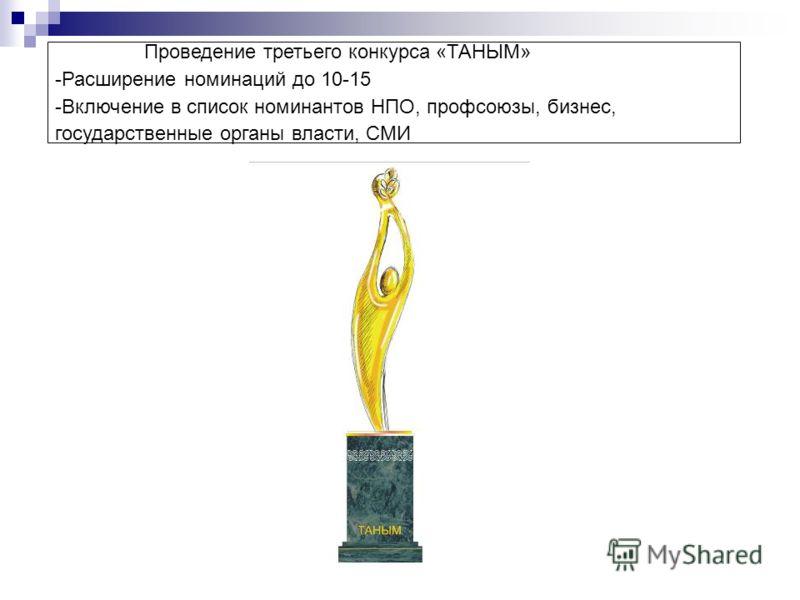 Проведение третьего конкурса «ТАНЫМ» -Расширение номинаций до 10-15 -Включение в список номинантов НПО, профсоюзы, бизнес, государственные органы власти, СМИ