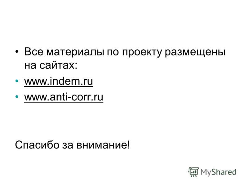 Все материалы по проекту размещены на сайтах: www.indem.ru www.anti-corr.ru Спасибо за внимание!