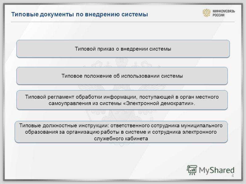 Типовые документы по внедрению системы 4 Типовой приказ о внедрении системы Типовое положение об использовании системы Типовой регламент обработки информации, поступающей в орган местного самоуправления из системы «Электронной демократии». Типовые до