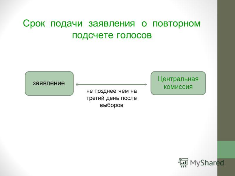 Срок подачи заявления о повторном подсчете голосов заявление Центральная комиссия не позднее чем на третий день после выборов