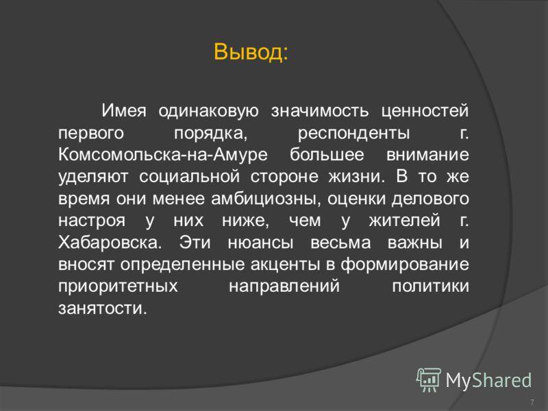 Вывод: Имея одинаковую значимость ценностей первого порядка, респонденты г. Комсомольска-на-Амуре большее внимание уделяют социальной стороне жизни. В то же время они менее амбициозны, оценки делового настроя у них ниже, чем у жителей г. Хабаровска.