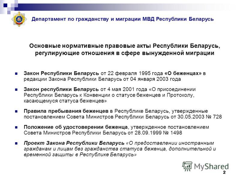 2 Основные нормативные правовые акты Республики Беларусь, регулирующие отношения в сфере вынужденной миграции Закон Республики Беларусь от 22 февраля 1995 года «О беженцах» в редакции Закона Республики Беларусь от 04 января 2003 года Закон республики