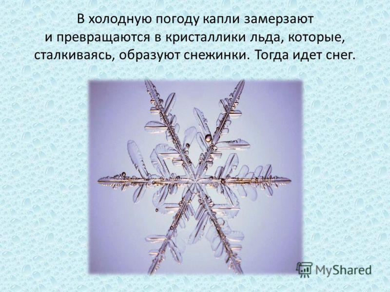В холодную погоду капли замерзают и превращаются в кристаллики льда, которые, сталкиваясь, образуют снежинки. Тогда идет снег.