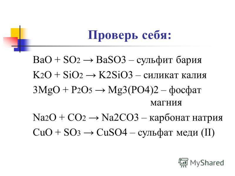 Проверь себя: BaO + SO 2 BaSO3 – сульфит бария K 2 O + SiO 2 K2SiO3 – силикат калия 3MgO + P 2 O 5 Mg3(PO4)2 – фосфат магния Na 2 O + CO 2 Na2CO3 – карбонат натрия CuO + SO 3 CuSO4 – сульфат меди (II)