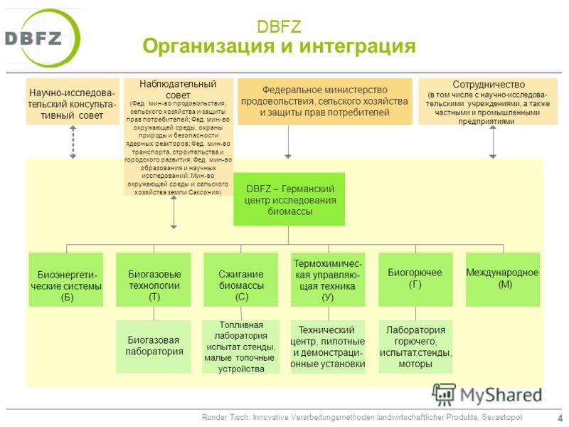 4 Runder Tisch: Innovative Verarbeitungsmethoden landwirtschaftlicher Produkte, Sevastopol DBFZ Организация и интеграция