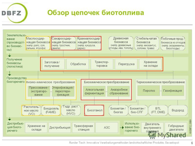 6 Runder Tisch: Innovative Verarbeitungsmethoden landwirtschaftlicher Produkte, Sevastopol Обзор цепочек биотоплива Использо- вание био- горючего Землепользо- вание (производст- во биомас- сы) Производство биогорючего Дистрибью- ция биого- рючего Кра
