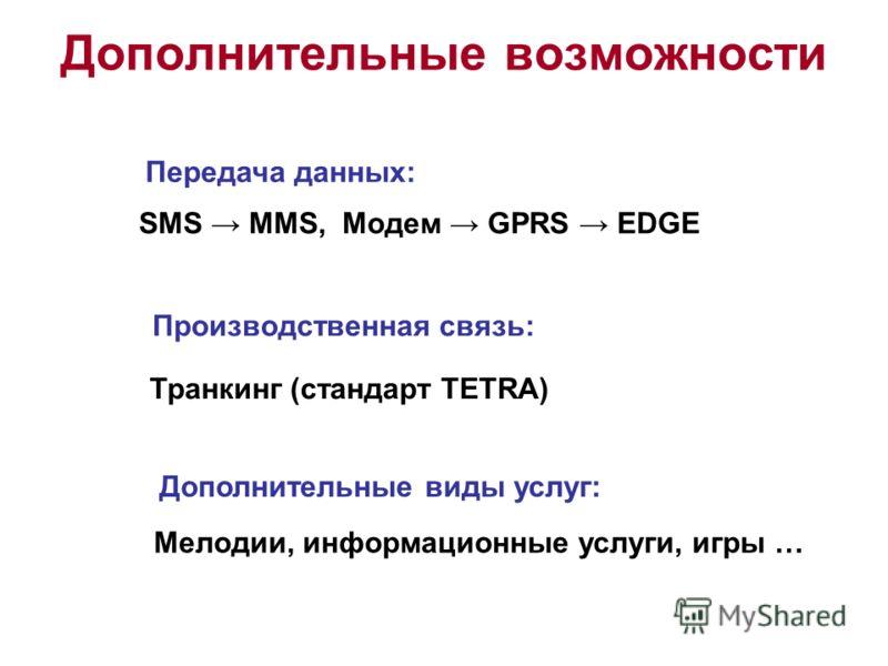 Дополнительные возможности SMS MMS, Модем GPRS EDGE Передача данных: Производственная связь: Транкинг (стандарт TETRA) Дополнительные виды услуг: Мелодии, информационные услуги, игры …
