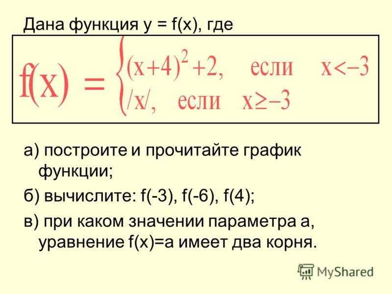 Дана функция y = f(x), где а) построите и прочитайте график функции; б) вычислите: f(-3), f(-6), f(4); в) при каком значении параметра а, уравнение f(x)=a имеет два корня.