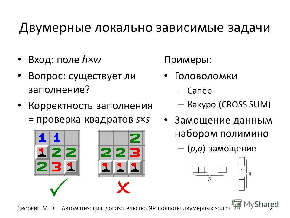 Двумерные локально зависимые задачи Вход: поле h×w Вопрос: существует ли заполнение? Корректность заполнения = проверка квадратов s×s Примеры: Головоломки – Сапер – Какуро (CROSS SUM) Замощение данным набором полимино – (p,q)-замощение 2Автоматизация