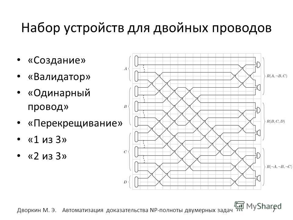 Набор устройств для двойных проводов «Создание» «Валидатор» «Одинарный провод» «Перекрещивание» «1 из 3» «2 из 3» 7Автоматизация доказательства NP-полноты двумерных задач Дворкин М. Э.